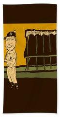 Mickey Mantle Yankee Stadium Beach Sheet by Jay Perkins