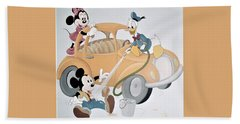 Micky,minnie And Donald On Car Beach Sheet