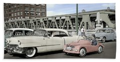 Beach Sheet featuring the photograph Micro Car And Cadillac by Martin Konopacki Restoration