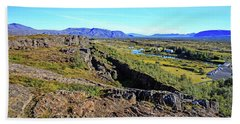 Mid-atlantic Rise In Thingvellir, Iceland Beach Towel by Allan Levin