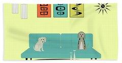Mid Century Modern Dogs 2 Beach Towel