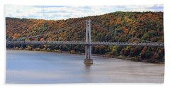 Mid Hudson Bridge In Autumn Beach Towel