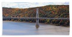 Mid Hudson Bridge In Autumn Beach Sheet