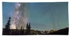 Middle Of The Night Milky Way Above The Rocky Mountains Beach Towel