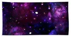 Midnight Blue Purple Galaxy Beach Towel