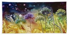Midnight Flowers Beach Towel
