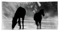 Midnight Horses At The Beach Black And White Beach Towel by Peggy Collins