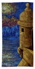 Midnight Mirage In San Juan Beach Towel by Oscar Ortiz