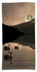 Midnight Moods Swan Lake In The Moonlight Beach Towel