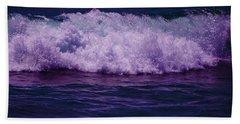 Midnight Ocean Wave In Ultra Violet Beach Sheet