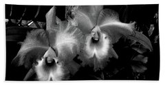 Midnight Orchids Beach Towel
