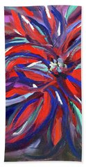Midnight Poinsettia Beach Towel