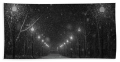 Midnight Snow Storm Beach Towel