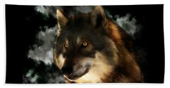 Midnight Stare - Wolf Digital Painting Beach Sheet