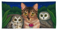 Beach Towel featuring the painting Midnight Watching - Abyssinian Cat Saw Whet Owls by Carrie Hawks