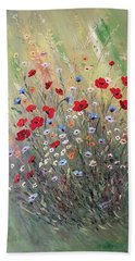 Beach Towel featuring the painting Midsummer Poppies by Dorothy Maier