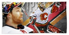 Miikka Kiprusoff Beach Towel by Don Olea