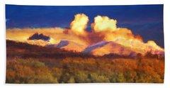Milagro Cloud Theater Over Truchas Peaks Nm Beach Towel