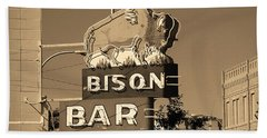 Miles City, Montana - Bison Bar Sepia Beach Towel