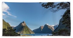 Beach Towel featuring the photograph Milford Sound Overlook by Gary Eason