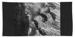 Milkweed Sunburst In Black And White Beach Towel