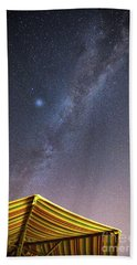 Milky Way And A Planet Over The Umbrella Beach Towel