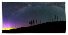 Beach Towel featuring the photograph Milky Way And Aurora Borealis by Cat Connor