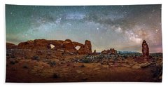 Milky Way At Arches Park Beach Towel