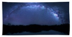 Beach Towel featuring the photograph Milky Way At Mrazek Pond by Mark Andrew Thomas