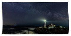 Milky Way At Portland Head Light Beach Towel
