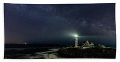 Milky Way At Portland Head Light Beach Sheet