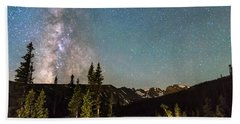 Milky Way Magic Above Longs Lake And The Indian Peaks Beach Towel