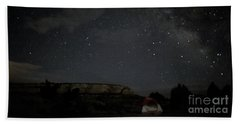 Milky Way Over Campground Beach Towel by Anne Rodkin