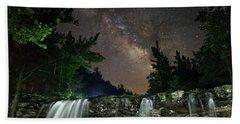 Milky Way Over Falling Waters Beach Towel
