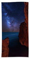 Milky Way Over Huchinson Island Beach Florida Beach Sheet by Justin Kelefas