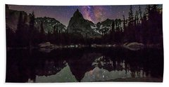 Milky Way Over Lone Eagle Peak And Mirror Lake Beach Towel