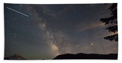 Milky Way Over Mount Hood With International Space Station Beach Towel