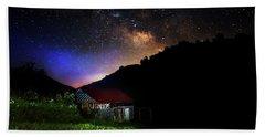 Milky Way Over Mountain Barn Beach Towel