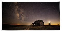 Milky Way Over Prairie House Beach Sheet by Kristal Kraft