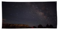 Milky Way Over White Pocket Campground Beach Sheet by Anne Rodkin