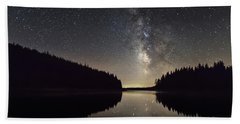 Milky Way Reflections In A Lake Beach Towel
