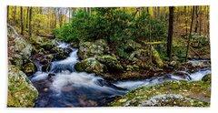 Mill Creek In Fall #4 Beach Sheet