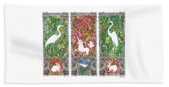 Beach Towel featuring the drawing Millefleurs Triptych With Unicorn, Cranes, Rabbits And Dove by Lise Winne