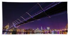 Millennium Bridge At Night 2 Beach Towel by Mariusz Czajkowski