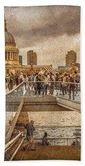 London, England - Millennium Bridge II Beach Towel