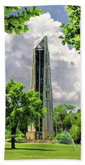 Beach Towel featuring the painting Millennium Carillon by Christopher Arndt