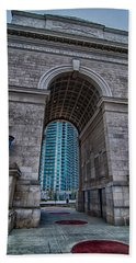 Millennium Gate Triumphal Arch At Atlantic Station In Midtown At Beach Towel by Alex Grichenko
