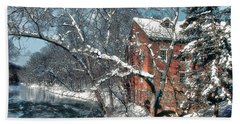 Mill House In Winter Beach Towel