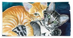 Milo And Tigger - Cute Kitty Painting Beach Towel