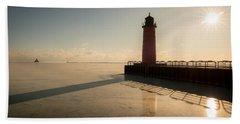 Milwaukee Frozen Lighhtouse Beach Towel
